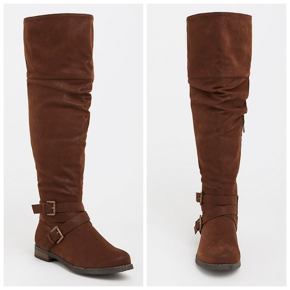 torrid Shoes - Torrid Brown Slouchy EXT WC Over The Knee Boots 9W